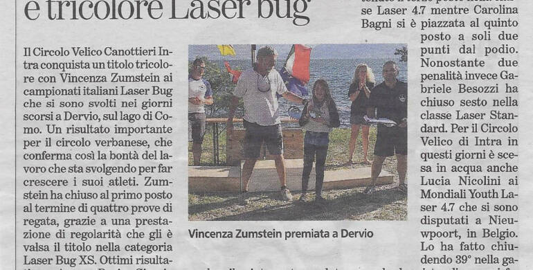 Vincenza Zumstein 1° classificata ai Campionati Italiani Laser Bug